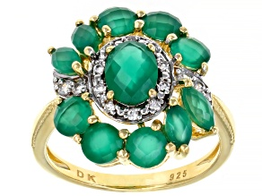 Pre-Owned Green Onyx With White Zircon 18k Yellow Gold Over Sterling Silver Ring 2.30ctw.