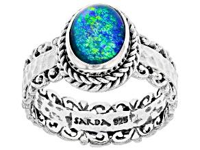 Pre-Owned Australian Opal Triplet Silver Ring