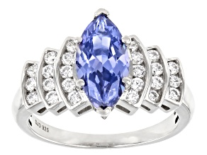Pre-Owned Blue And White Cubic Zirconia Rhodium Over Sterling Silver Ring 3.55ctw