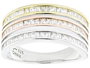 Pre-Owned White Cubic Zirconia Rhodium And 14k Yellow And Rose Gold Over Sterling Silver Ring 1.44ct