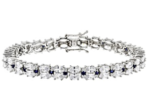 Pre-Owned Blue And White Cubic Zirconia Rhodium Over Sterling Silver Tennis Bracelet 24.27ctw