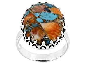 Pre-Owned Blended Spiny Oyster Shell and Turquoise Sterling Silver Ring