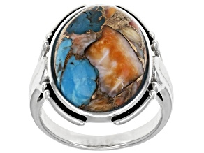 Pre-Owned Blended Turquoise and Spiny Oyster Shell Rhodium Over Silver Ring