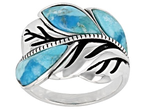 Pre-Owned Free-form Cabochon Turquoise Oxidized Sterling Silver Leaf Ring