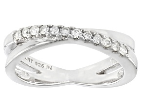 Pre-Owned White Diamond Rhodium Over Sterling Silver Crossover Band Ring 0.20ctw