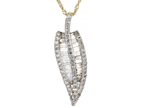 Pre-Owned White Diamond 10K Yellow Gold Leaf Pendant With Chain 1.15ctw