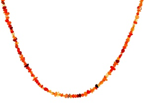 Pre-Owned Orange Mexican Fire Opal 18k Yellow Gold Over Sterling Silver Necklace Approximately 25.00