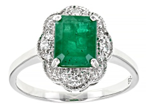 Pre-Owned Green Emerald Rhodium Over 10k White Gold Ring 1.40ctw