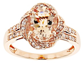 Pre-Owned Peach Oval Cor-De-Rosa Morganite™ 10k Rose Gold Ring 2.27ctw