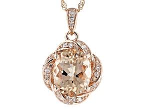 Pre-Owned Peach Cor De Rosa Morganite 10k Rose Gold Pendant With Chain 2.16ctw