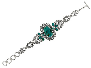 Pre-Owned Blue Turquoise Rhodium Over Sterling Silver Bracelet 0.17ctw