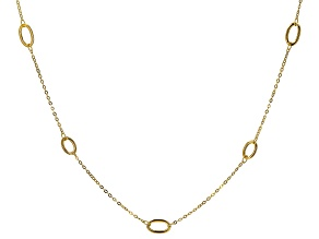 Pre-Owned 10K Yellow Gold Oval Station Cable Chain Necklace