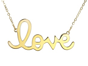 """Pre-Owned 10K Yellow Gold Handwritten """"Love"""" 18 Inch Necklace"""