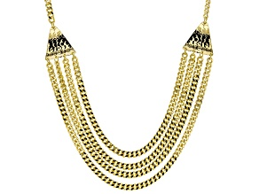 Pre-Owned 18k Yellow Gold Over Bronze Multi-Strand Curb 23 1/2 inch Necklace