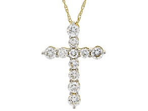 """Pre-Owned White Lab-Grown Diamond 14K Yellow Gold Pendant With 18"""" Rope Chain 0.59ctw"""