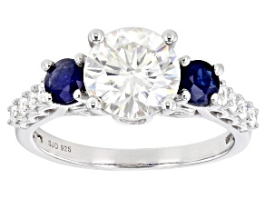 Pre-Owned Moissanite And Blue Sapphire Platineve Ring 2.20ctw DEW.