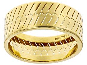 Pre-Owned 10K Yellow Gold 7.9MM Herringbone Band Ring