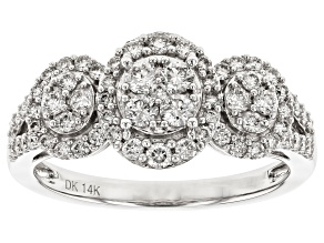Pre-Owned White Lab-Grown Diamond 14K White Gold Cluster Ring 0.73ctw