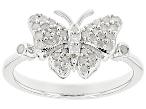 Pre-Owned White Diamond Rhodium Over Sterling Silver Cluster Butterfly Ring 0.30ctw