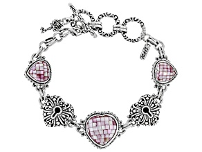 Pre-Owned Pink Mother Of Pearl Heart Sterling Silver Key Bracelet