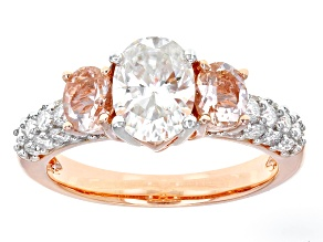Pre-Owned Moissanite Fire® 1.98ctw DEW And .62ctw Morgainte 14k Rose Gold Over Silver Ring