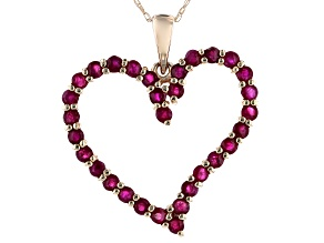 Pre-Owned Red Ruby 14k Yellow Gold Children's Heart Pendant With Chain 1.58ctw