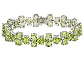 Pre-Owned Green Peridot Rhodium Over Sterling Silver Bracelet 33.70ctw