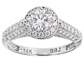 Pre-Owned Moissanite 14k white gold ring 1.15ctw DEW.