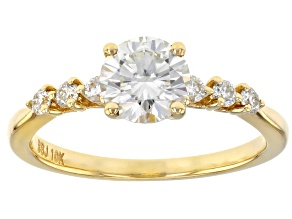 Pre-Owned Moissanite 10k yellow gold ring 1.18ctw DEW.