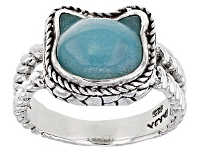 Pre-Owned Teal Quartzite Sterling Silver Kitty Ring