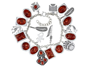 Pre-Owned Red Coral Rhodium Over Silver Charm Bracelet