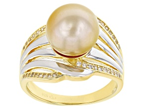 Pre-Owned Golden Cultured South Sea Pearl & Zircon Rhodium & 18k Yellow Gold Over Sterling Silver Ri