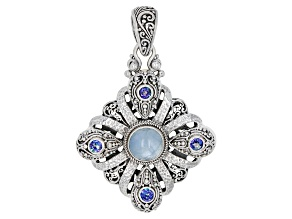 Pre-Owned Blue Aquamarine Sterling Silver Pendant 1.16ctw