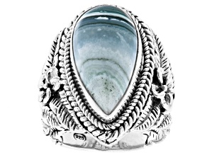 Pre-Owned Green Opal Silver Frangipani Ring