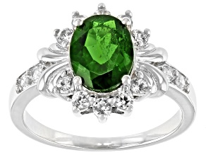 Pre-Owned Green Chrome Diopside Rhodium Over Sterling Silver Ring 2.11ctw