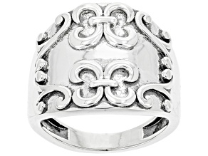 Pre-Owned Rhodium Over Sterling Silver Dome Swirl Ring