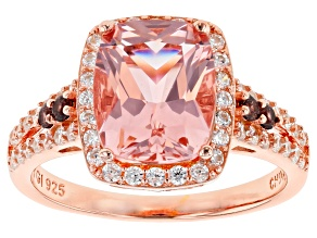 Pre-Owned Morganite Simulant, Brown, And White Cubic Zirconia 18K Rose Gold Over Sterling Silver Rin