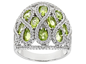 Pre-Owned Green Peridot Rhodium Over Sterling Silver Ring 5.06ctw