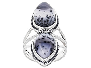 Pre-Owned Multi Color Dendretic Opal Sterling Silver Ring