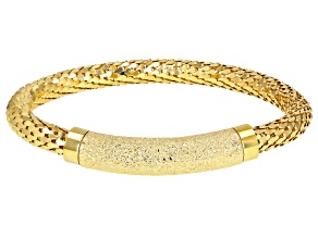 Pre-Owned 18K Yellow Gold Over Bronze Textured Mesh Weave Bracelet