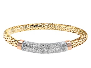 Pre-Owned 18K Yellow, Rose Gold and Rhodium Over Bronze Textured Mesh Weave Bracelet