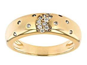 Pre-Owned White Cubic Zirconia 18K Yellow Gold Over Bronze Matte Ring