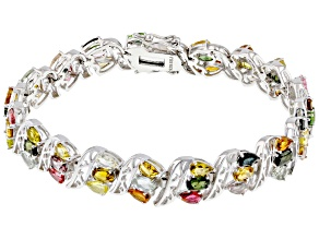 Pre-Owned Multi-Color Tourmaline Rhodium Over Sterling Silver Bracelet. 11.80ctw