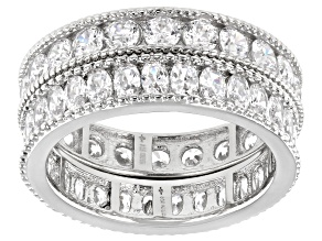 Pre-Owned White Cubic Zirconia Platinum Over Sterling Silver Band Rings Set Of 2 5.15ctw