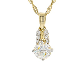 Pre-Owned Fabulite strontium titanate and white zircon 18k yellow gold over silver pendant 1.49ctw