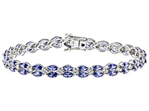Pre-Owned Blue And White Cubic Zirconia Rhodium Over Sterling Silver Tennis Bracelet 19.52ctw