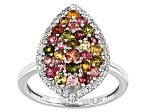Pre-Owned Multi-Color Tourmaline Rhodium Over Sterling Silver Ring 1.32ctw