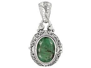 Pre-Owned Green Emerald Sterling Silver Locket Pendant 5.33ct