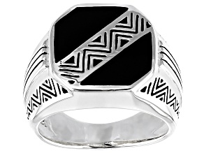 Pre-Owned Mens Inlaid Black Onyx Rhodium Over Sterling Silver Ring