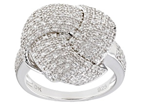 Pre-Owned White Zircon Rhodium Over Sterling Silver Ring .89ctw